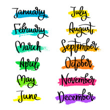 Set Of Labels Of The Months Of The Year.