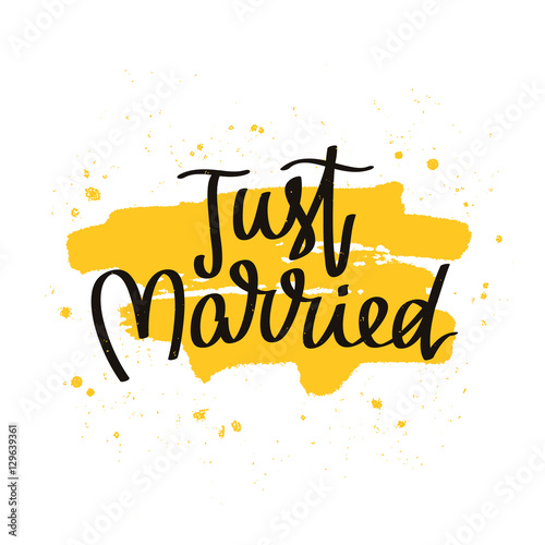 Just married. The trend calligraphy Wallpaper Mural