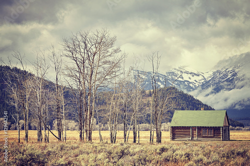 Retro toned old abandoned hut in the Grand Teton National Park, Wyoming, USA.