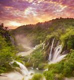Fototapeta Do pokoju - Waterfalls in National Park Plitvice Lakes,sunrise over waterfal