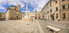 Historical Buildings And Obelisk Of The Ancient Piazza Federico II, Jesi, Province Of Ancona, Marche