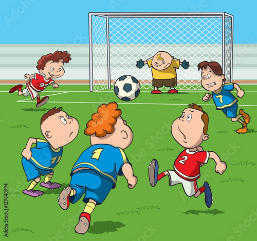 Kids Playing Football In The Stadium Cartoon Vector Illustration Buy This Stock Vector And Explore Similar Vectors At Adobe Stock Adobe Stock