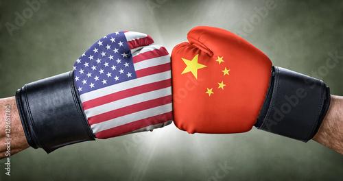 Fotografie, Obraz  Boxkampf - USA gegen China