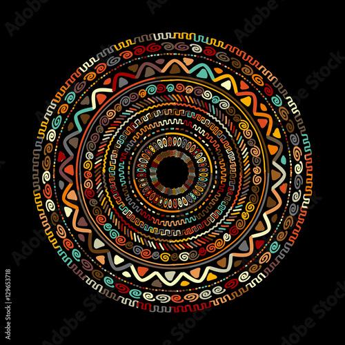Round ornament design, ethnic mandala Canvas Print