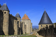 La Cite, battlements and spiky turrets from Les Lices, Carcassonne, Languedoc-Roussillon, France