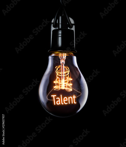 Fotografie, Obraz Hanging lightbulb with glowing Talent concept.