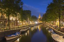 Spiegelgracht Canal And Rijksmuseum At Dusk, Amsterdam, Netherlands