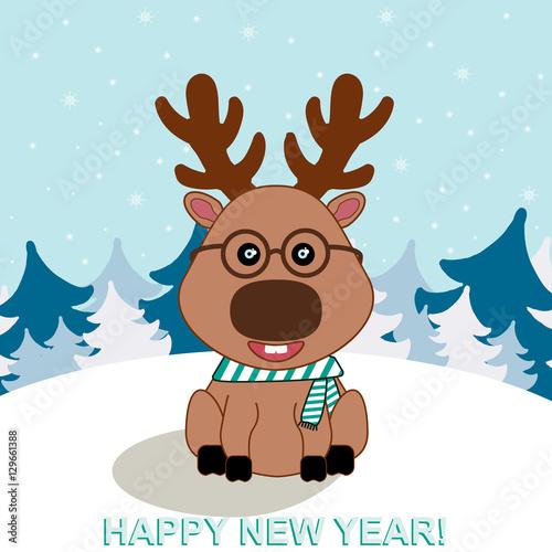 Deurstickers Babykamer Illustration of funny deer for New Year