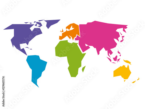 Fototapeta  Simplified world map divided to six continents - South America, North America, Africa, Europe, Asia and Australia - in different colors