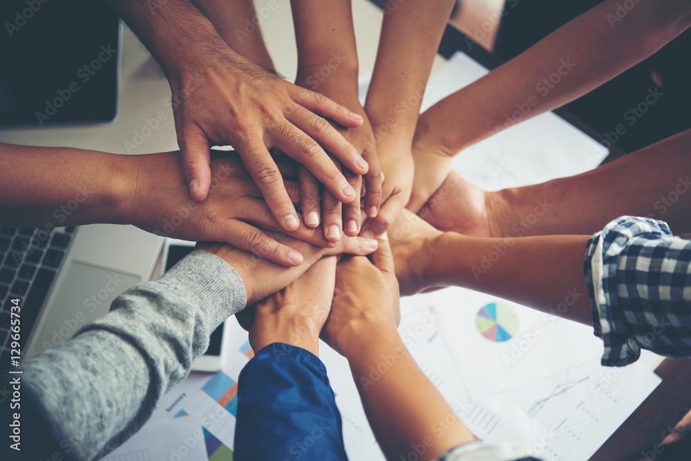 Fototapeta Teamwork togetherness collaboration, business teamwork concept.
