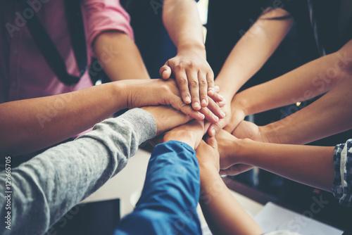 Fotomural Teamwork togetherness collaboration, business teamwork concept.