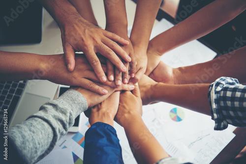 Cuadros en Lienzo Teamwork togetherness collaboration, business teamwork concept.