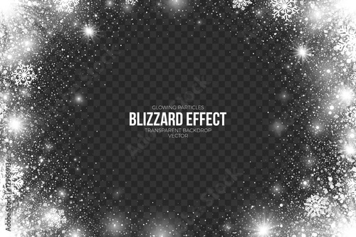 Fotografía  Snow Blizzard Effect on Transparent Background Vector Illustration