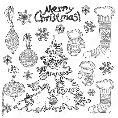 Christmas Decor Set Freehand Drawing Black And White Buy This Stock Vector And Explore Similar Vectors At Adobe Stock Adobe Stock
