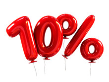 10% Made Of Red Helium Balloons. Discount Concept. 3d Rendering Isolated On White.