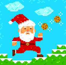 Retro 8 Bit Pixel Santa Clause Catching Cookies