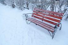 Benche In Winter Park, Snow Falls, Outdoor