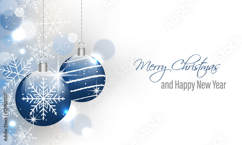 Christmas and New Year vector banner with hanging baubles. Wallpaper Mural