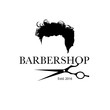Logo for barbershop, hair salon with hipster haircut and barber scissors. Vector Illustration