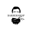 Logo for barbershop, hair salon with hipster head and barber scissors. Vector Illustration