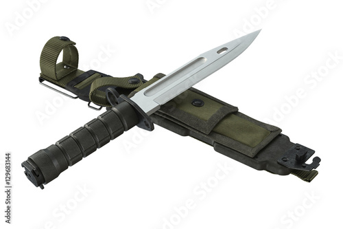 Photo  Knife army green combat weapon. 3D rendering