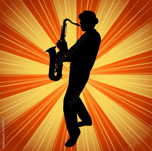 Obraz na plátně sax musician silhouette on the vintage background