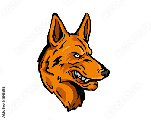 angry dog breed character logo brown german shepherd buy this rh stock adobe com German Shepherd Silhouette Clip Art german shepherd logos on sweatshirts and tees