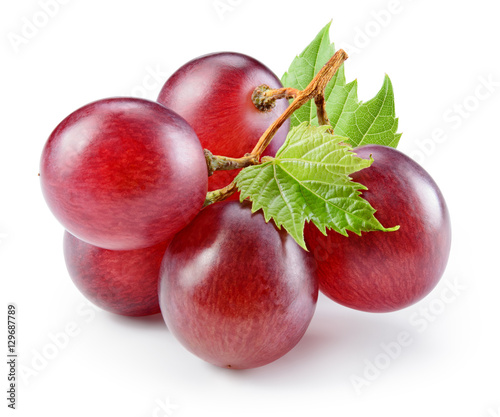 Ripe red grape with leaf isolated on white. With clipping path.