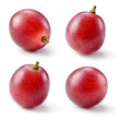 canvas print picture - Ripe red grape isolated on white. Collection. Full depth of fiel