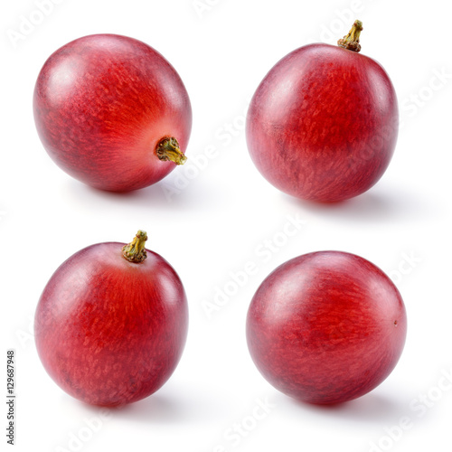 Fotografia Ripe red grape isolated on white. Collection. Full depth of fiel