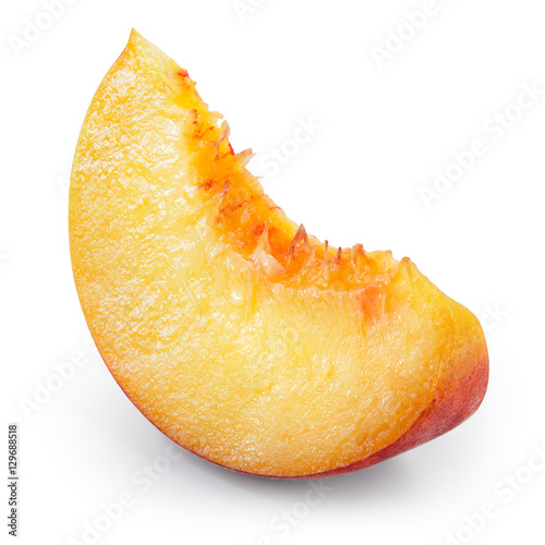 Peach slice of fruit isolated on white. With clipping path.