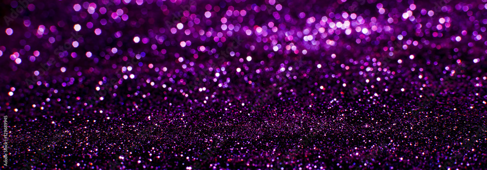 Fototapety, obrazy: purple glitter texture christmas abstract - panoramic background or bokeh with blank space
