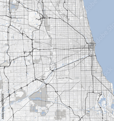 Map Chicago city. Illinois Roads Wall mural