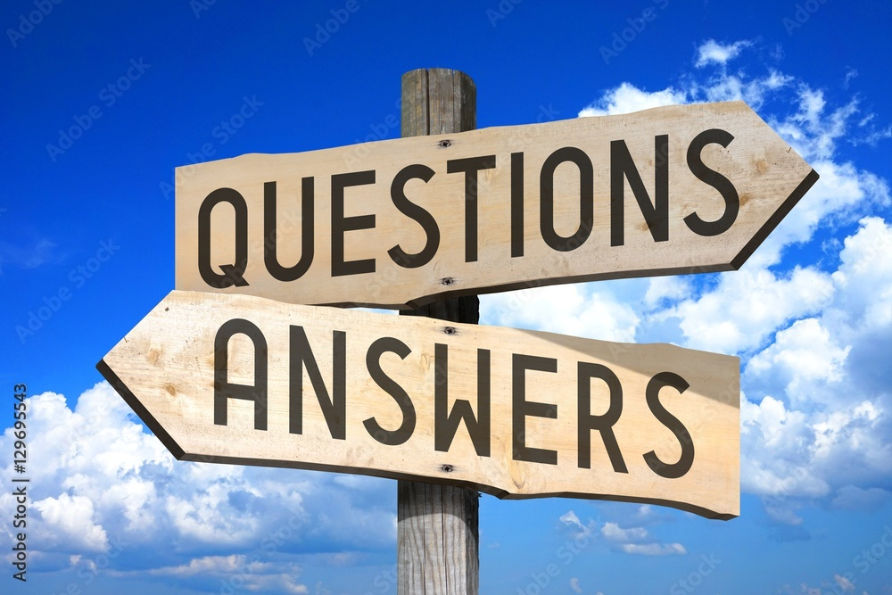 Fototapeta Questions, answers - wooden signpost