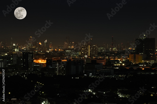 Canvas Prints Arizona Wide angle of city scape at night scene with super moon