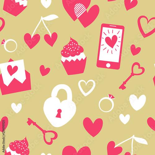 Materiał do szycia Walentynki wektor wzór. Elementy płaskie kreskówka na złotym tle. Cute girly rzeczy wzorzec projektowania. Doskonały do zawijania i tekstyliów.