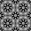 Seamless pattern with mandalas in black and white colors. Vector background.