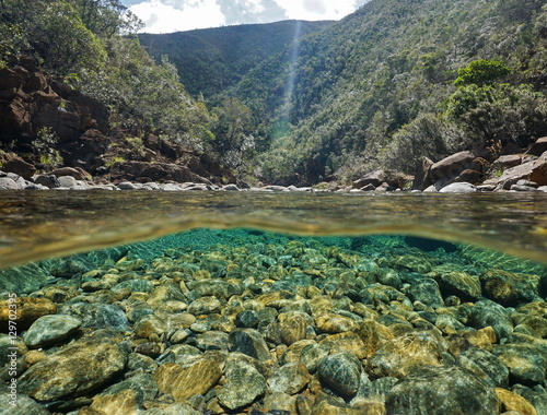 Printed kitchen splashbacks River River above and below water surface with rocks on the riverbed underwater, Dumbea river, New Caledonia