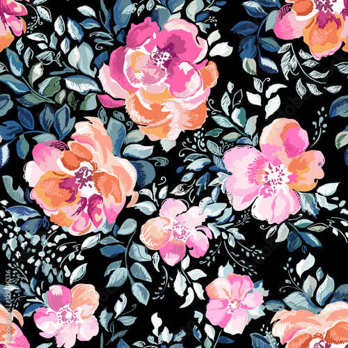 Cotton fabric Scribbled flower and rose print with funky leaves - hand drawn seamless background