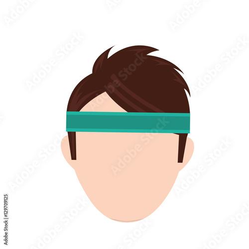 Man with sport headband icon vector illustration graphic design Wallpaper Mural