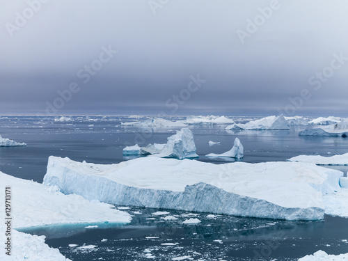 Staande foto Gletsjers glaciers are melting on arctic ocean in Greenland