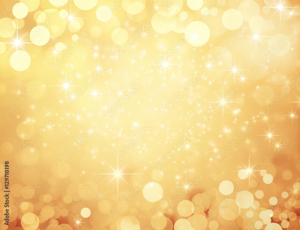 Fototapeta Fond doré et festif - Noël, nouvel an, anniversaire