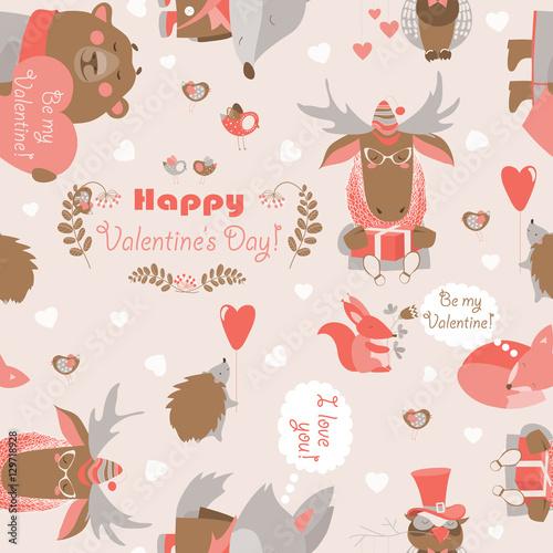 Materiał do szycia Bezszwowe Valentines wzór zabawa zwierzęta, serca i kwiaty