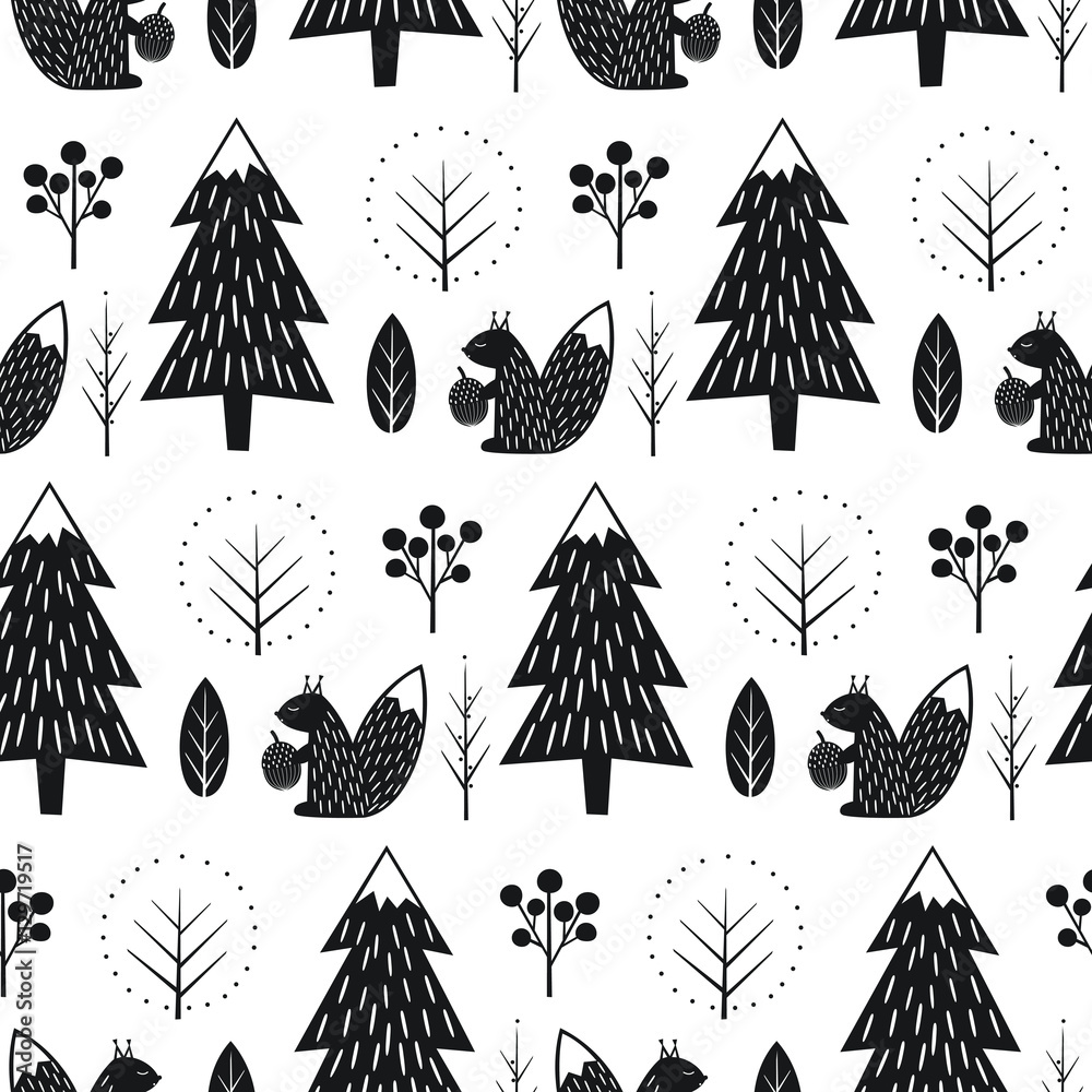 Squirrel in forest seamless pattern. Black and white scandinavian style nature illustration. Cute winter forest with animal design for textile, wallpaper, fabric.