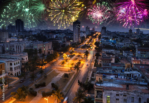 Photo sur Toile La Havane fireworks over Havana, Cuba