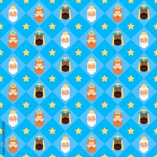 Obraz na płótnie Three Kings Christmas Seamless Pattern Vector Design
