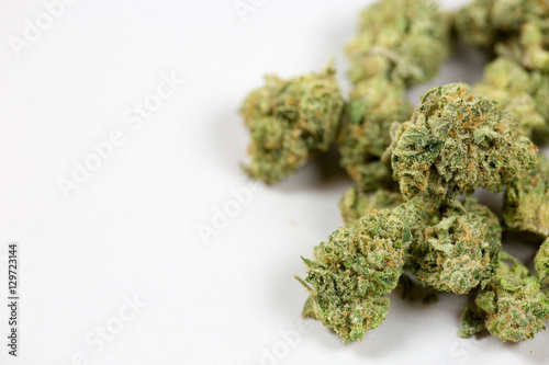 Photo  close up of marijuana bud on white background