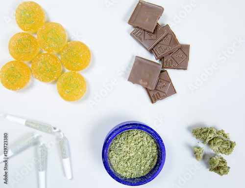 Fotografie, Obraz  overhead of edible marijuana products and bud
