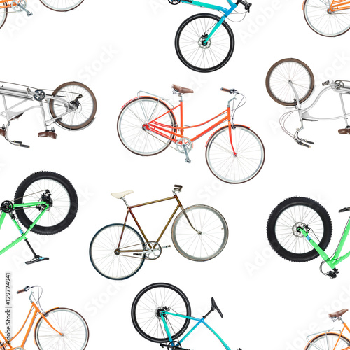 Cotton fabric Seamless pattern of different bicycles isolated on a white