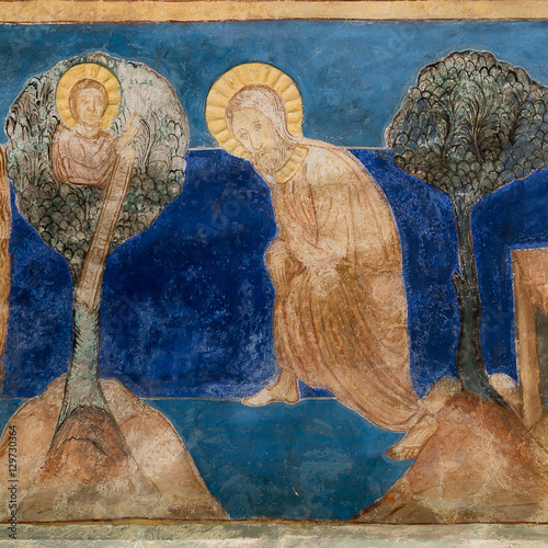 Photo  Abraham's sacrifice. Romanesque wall-painting.
